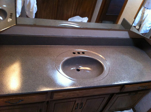 Edmond Bathtub Refinishing - Edmond, OK - Vanity in Stone-Fleck Charcoal
